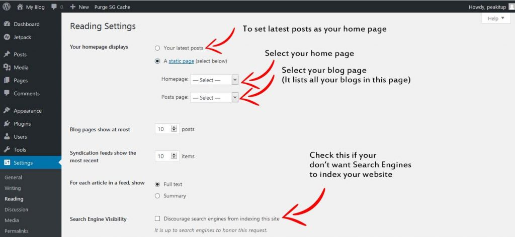 setting-home-and-blog-page-wordpress