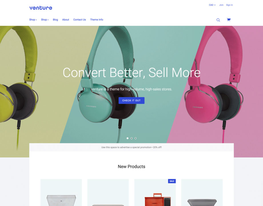 venture cool bigcommerce theme